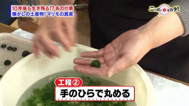 กระบวนการที่ 2 : ปั้นให้เป็นก้อนกลมๆบนฝ่ามือเหมือนกับกำลังทำขนมดังโงะ